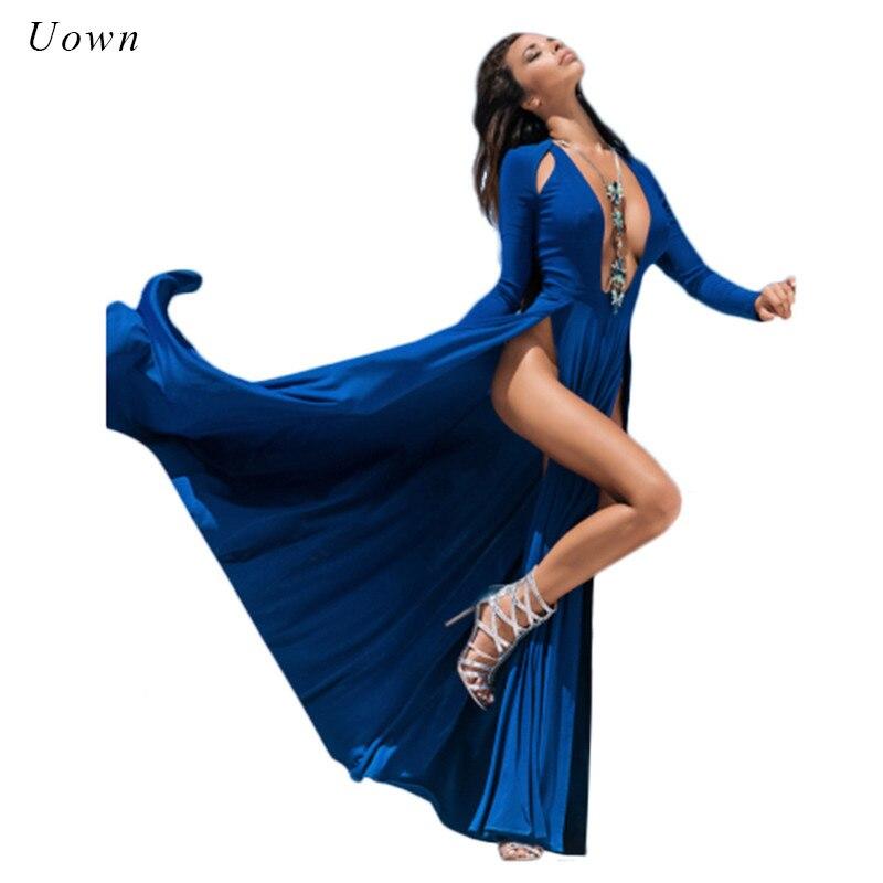 6047fd8291 Sexy High Slit Long Sleeve Maxi Dress Deep V Neck Club Party Boho Long Dress  Blue Black Split Floor Length Dress Vestido Robes