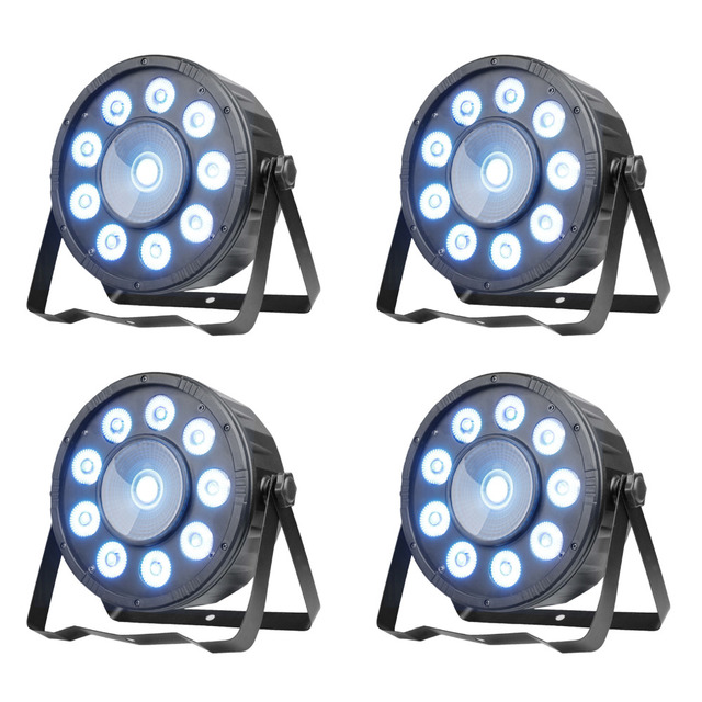 TSSS 4Pack  Led Uplight 10 RGB LED DMX512 LED PAR Can Stage Lighting for Wedding KTV DJ Bar Party Show 45W