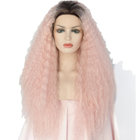 Glueless Heat Resistant Hair Kinky Curly Type Two Tone Color Black Omber Pink Hand Tied Makeup