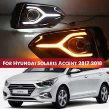 For Hyundai Solaris Accent 2017 2018 12V LED Car DRL Daytime Running Light fog lamp with Turn Yellow Signal style Relay цена в Москве и Питере