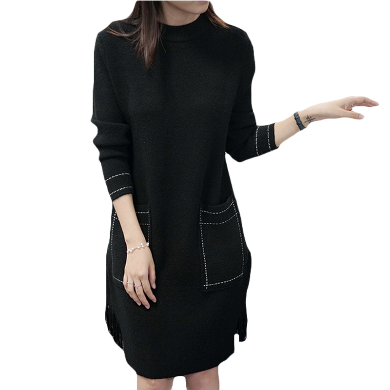 Pullover Sweaters Dress Plain Winter Solid Knitting Tassel Dresses Vestidos 2017 Fashion Womens Loose Pockets Thick Dress XH837