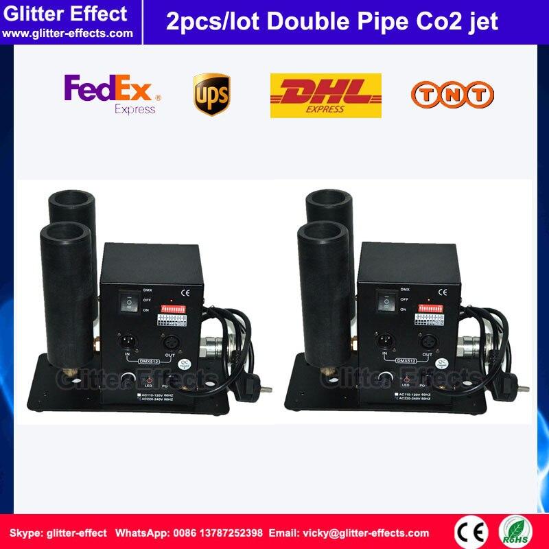 2pcs / lot DMX512 Double pipe Co2 jet DJ disco theater club bar stage equipment cyro machine
