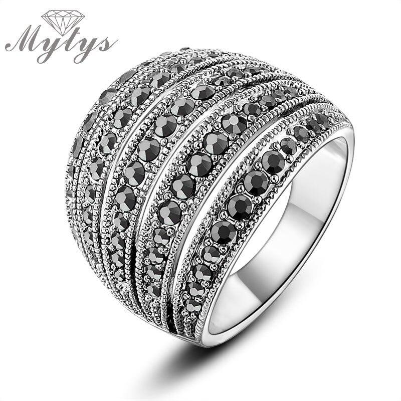 Mytys 2017 New Arrival Female Ring Black Zircon White Gold Cs
