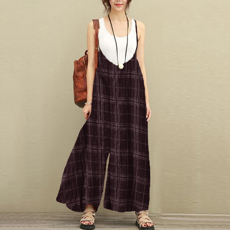 2c46653633 Women Retro Plaid Vacation Jumpsuits Loose Long Dungarees Wide Leg ...