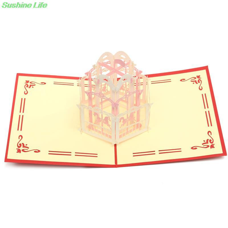 Carousel 3D Laser Cut Pop Up Paper Handmade Postcards Custom Greeting Cards Christmas Gift For Lover red cover цена и фото