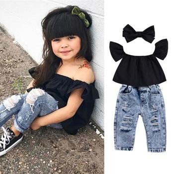 101ffa9db653 2Pcs Fashion Girls Clothes Set Off Shoulder Tops T-Shirts Denim Pants Ripped  Jeans Set