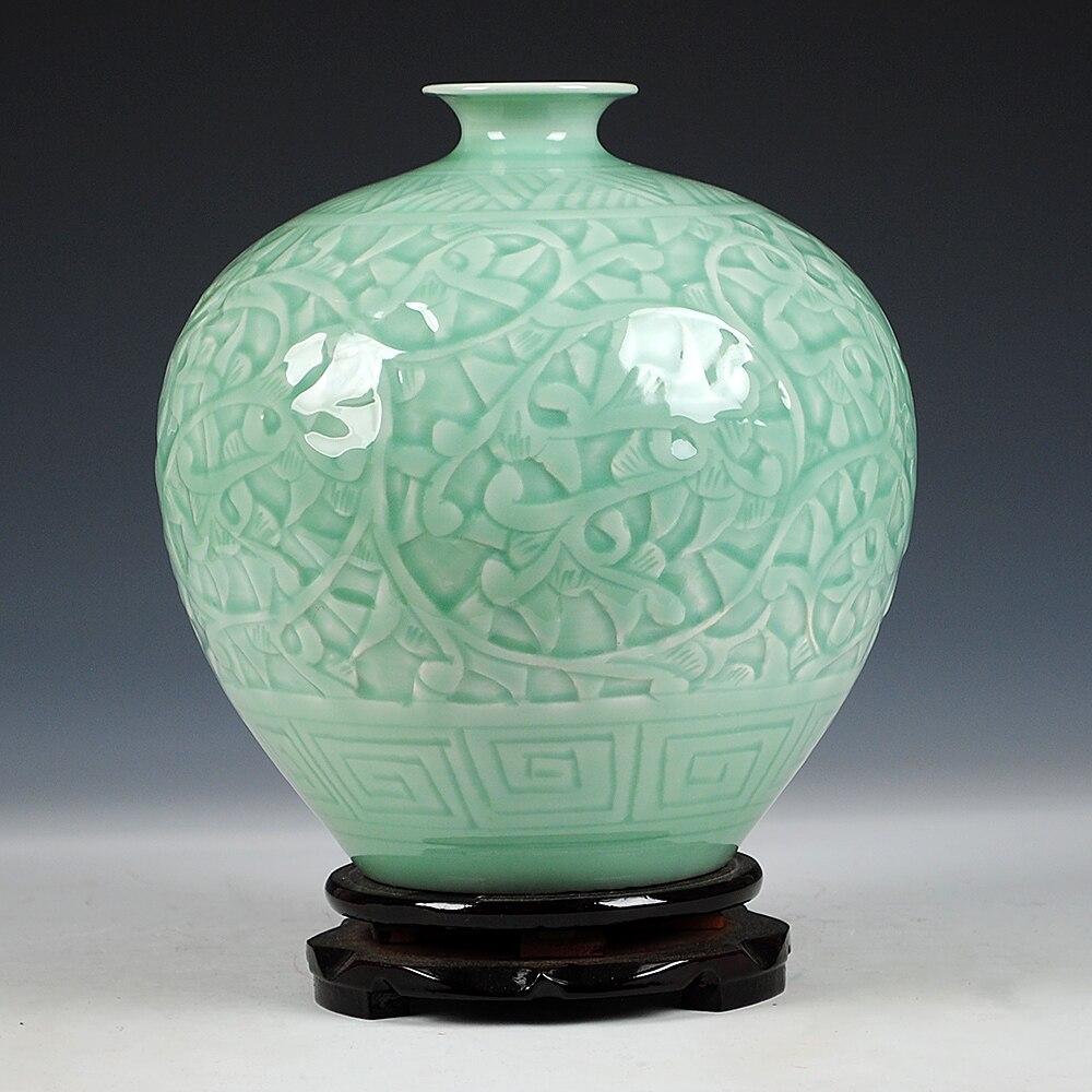 Ev ve Bahçe'ten Vazolar'de Antika Jingdezhen Çin Seramik Yeşil Oyma Yeşim Vazo Düğün DecorationWhite Porselen Vazo Çiçek Vazo Hediye'da  Grup 3