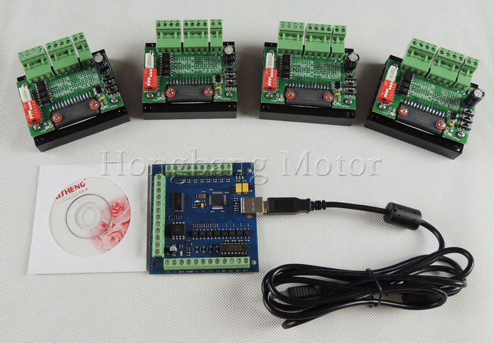 CNC Router mach3 USB 4 Axis Kit, 4pcs TB6560 1 Axis Driver Board + one mach3 4 Axis USB CNC Stepper Motor Controller card 100KHz cnc router kit 4 axis 4pcs 1 axis tb6560