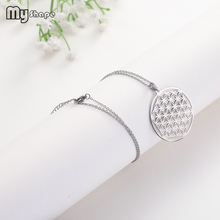My Shape Flower of Life Stainless Steel Hollow Round Jewelry Pendant Necklace Choker