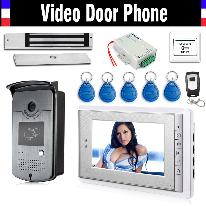 Wired 7 Video Door Phone Intercom Entry System 1 Monitor + 1 RFID Access Camera + 180kg Electric Magnetic Lock+ Door Exit hom wired 7 video door phone intercom entry system 1 monitor 1 rfid access camera electric magnetic lock free shipping