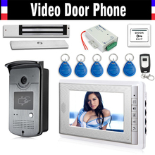 Best price Wired 7″ Video Door Phone Intercom Entry System 1 Monitor + 1 RFID Access Camera + 180kg Electric Magnetic Lock+ Door Exit