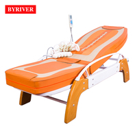 BYRIVER Wooden Real Jade Stone Tourmanium Therapeutic Massage Bed Equipment Machine Ceramic Heating Thermal Massager 5+4 Roller