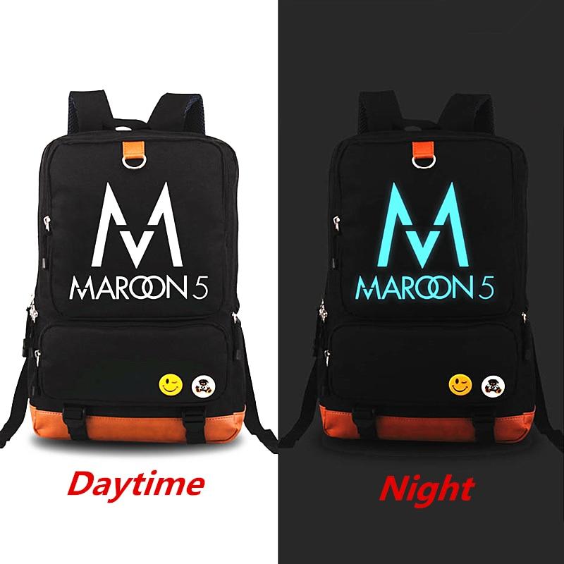 New Maroon5 Rock Music Backpack Hip Hop Knapsack Luminous Backpacks Teenagers Men Women's Student School Bags Travel Laptop bag