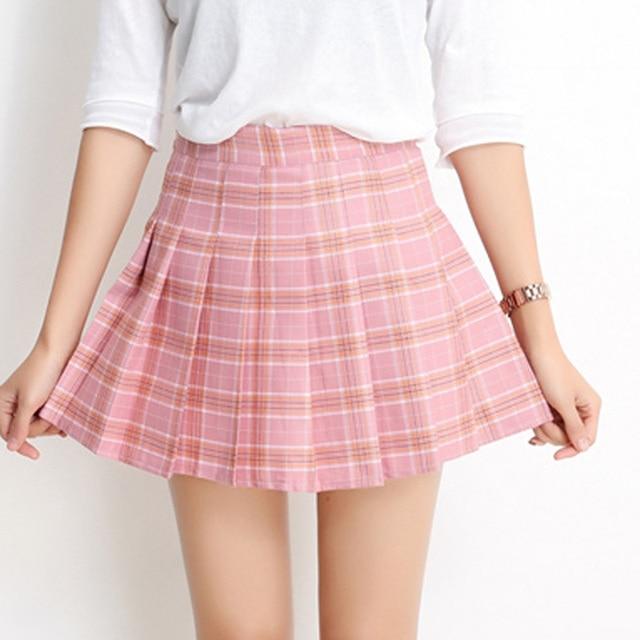 7ae27415c7 sweet pink solid women skirt empire cute pleated skirt casual high waist  mini skirt spring autumn