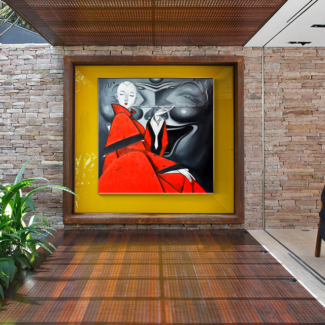 Famous Abstract Elegant Smoking Woman Canvas Painting HD Art Wall Pictures For Living Room Modern Posters And Prints