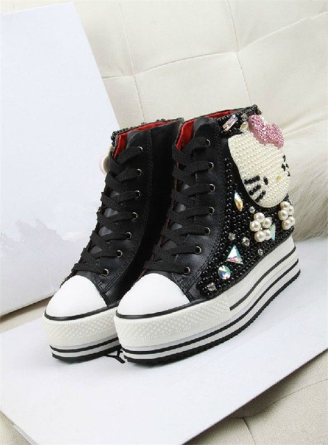 3aecf6716be1 Latest Platform Shoes Women Desigual Cute Hello Kitty Pattern Beading Shoes  Casual High-top Height Increasing Sapatos Femininos