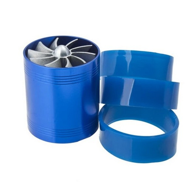 Free Shipping F1 Z Double Turbine Turbo Charger Gas Fuel Saver Fan Car Supercharger VR FSD11