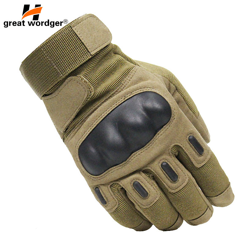 Military Touch Screen Tactical Gloves Army Full Finger Gloves CS Police Motocycle Slip-resistant Carbon Fiber Shell Combat Glove