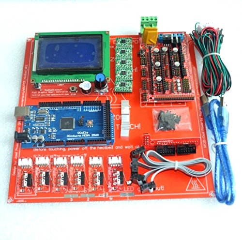 Reprap Ramps 1.4 Kit With Mega 2560 r3 + Heatbed mk2b + 12864 LCD Controller + A4988 Driver + Endstops + Cables For 3D Printer reprap ramps 1 4 mega 2560 heatbed mk2b 12864 lcd controller drv8825 mechanical endstop cables for 3d printer diy kit