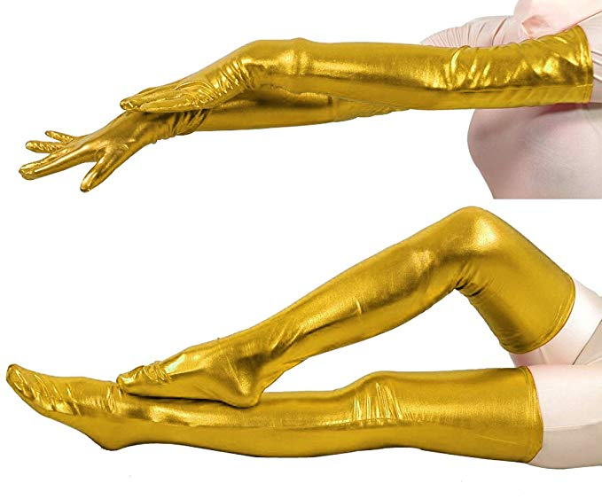 LZCMsoft Metallic Wet Look Tight Gloves and Stockings Suits Adult Cosplay Party Handwear Set Stage Performance Stocking