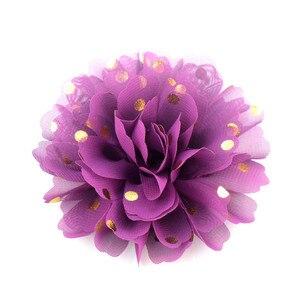 """Nishine 30 teile/los Neue 4 """"Große Gold Polka Gepunktete Stoff Chiffon Blume Flache Rückseite Für Stirnband Haarnadeln Floral Haar verschönerung"""