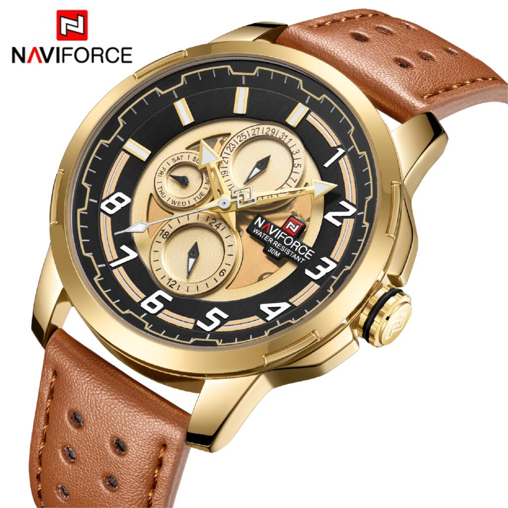 NAVIFORCE Men Watch Male Fashion 30M Waterproof 24 Hour Date Quartz Watch Man Leather Sports Wrist Watch Men Clock Gold BetterNAVIFORCE Men Watch Male Fashion 30M Waterproof 24 Hour Date Quartz Watch Man Leather Sports Wrist Watch Men Clock Gold Better