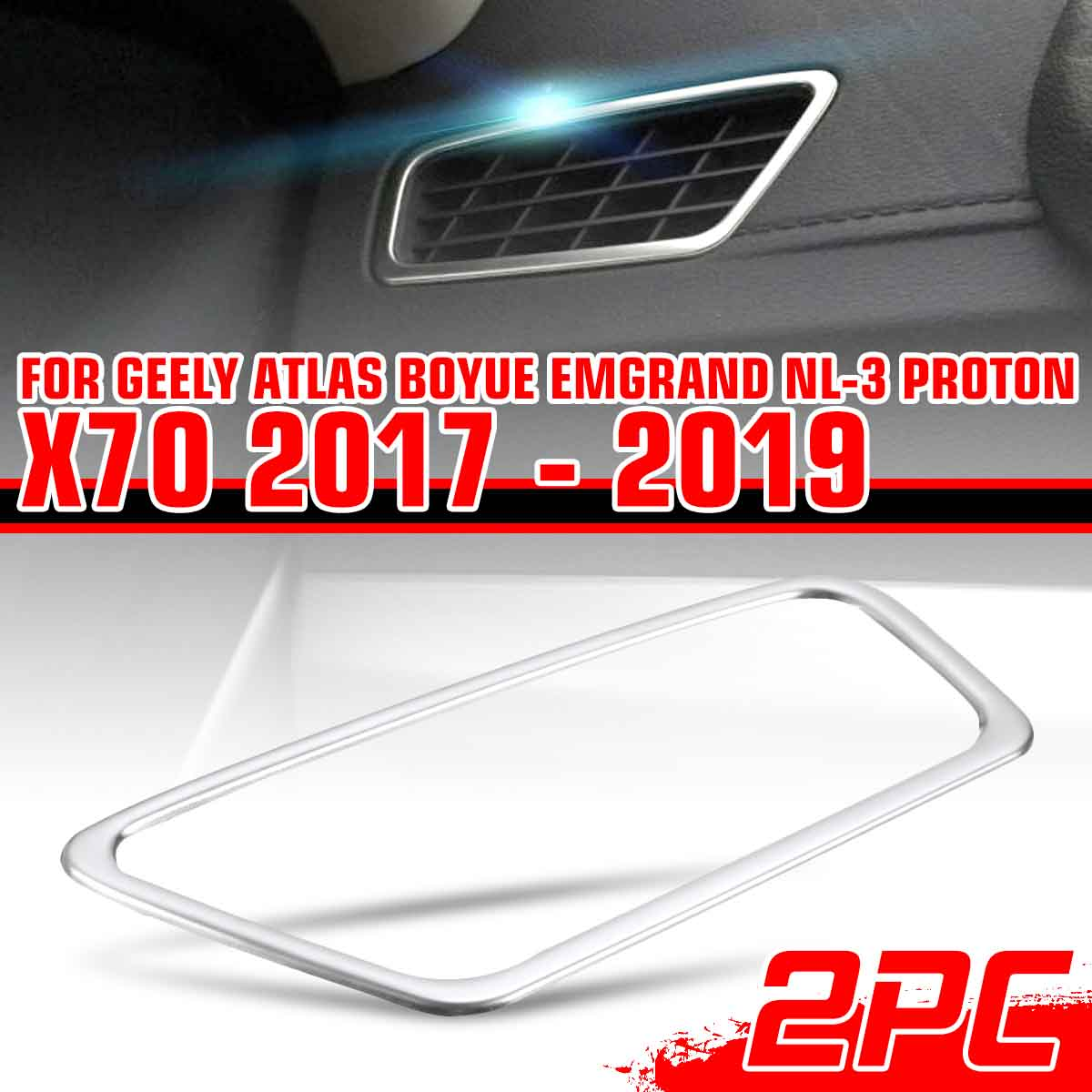 2X Car Dashboard Air Outlet Vent Cover Trim Frame Sticker Stainless For <font><b>Geely</b></font> <font><b>Atlas</b></font> Boyue Emgrand NL-3 Proton X70 2017 2018 <font><b>2019</b></font> image
