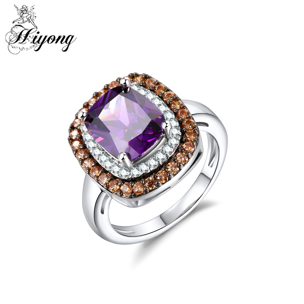 Hiyong Multicolor Cubic Zirconia Wedding Ring Vintage Style Jewelry Royal  Extravagant Anniversary Gift For Wife Mujeres