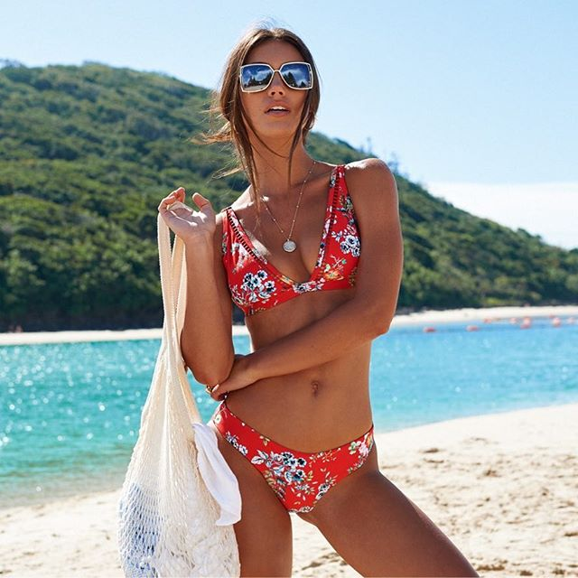 Rote Badebekleidung Frauen Blumendruck Bikini Set 2018 Bandage Badeanzug Sexy Bikinis Maillot De Bain Feme Sommer Badeanzug Biquini