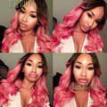 Top Body Wave Dark Root Ombre Pink Wigs Heat Resistant Lace Front Wig Ombre Pink Synthetic Lace Front Wigs For Black Women Stock