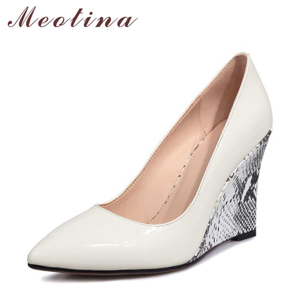 Meotina Women Pumps Wedge Heels Female Shoes Pointed Toe High Heels Bridal Shoes White Black Wedding