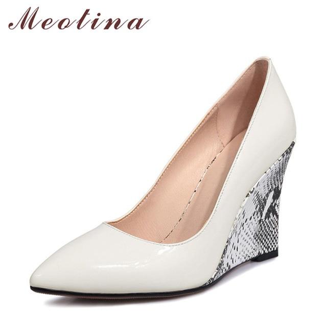 Meotina Women Pumps Wedge Heels Female Shoes Pointed Toe High Heels Bridal  Shoes White Black Wedding
