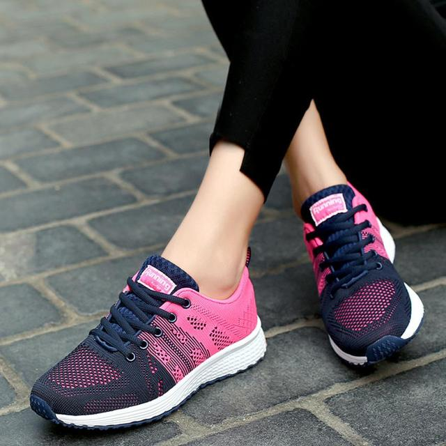 Sport Women Cushion Sports Shoes Outdoor Breathable Rose Mesh Sneakers Woman Athletic Cushioning Running Shoe Trainers 0724