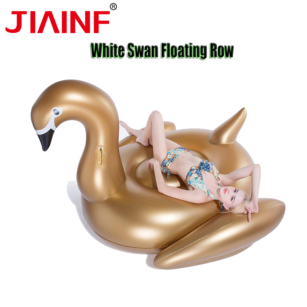 JIAINF Hot Selling Giant Inflatable Riding White Gold Water Pool Floats Pool Party Toy Swimming Air Mattress Bed Summer Floats