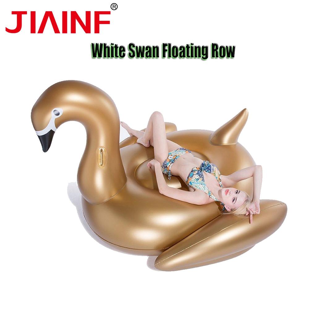 JIAINF vente chaude géant gonflable équitation or blanc piscine d'eau flotte piscine partie jouet natation Air matelas lit été flotteurs