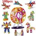 100 UNIDS tamaño Mini bloques de construcción Magnética juguetes de construcción para niños De Diseño magnético del Imán juguetes modelo juguetes de construcción enlighten