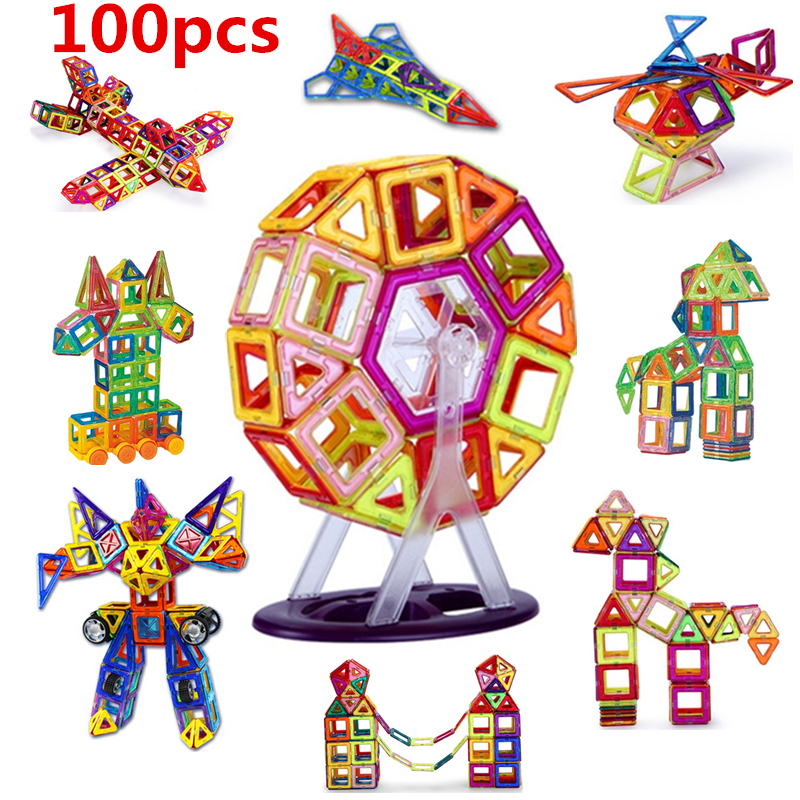 100PCS Mini size Magnetic building blocks construction toys for kid Designer magnetic toys Magnet model building toys enlighten ...