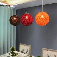 Hemp Ball pendant lights European modern dining room hanging Light Rural Cany Pendant Lamp Sitting Decoration light fixtures