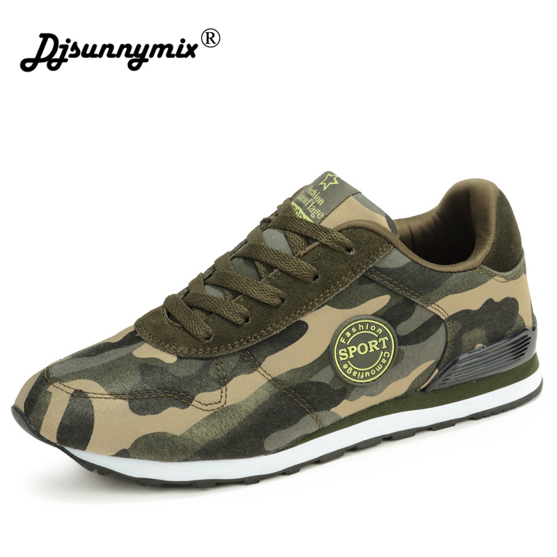 DJSUNNYMIX 2018 New Camouflage Military Unisex Running Shoes Men Breathable canvas Running Sneakers Very Comfortable