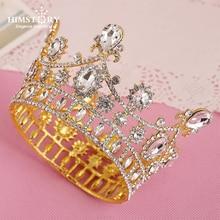 Himstory Baroque Vintage Gold Rhinestone Round Crown Bride Crystal King Queen Tiara Wedding Royal Diadem Bridal Hair Accessories цена 2017