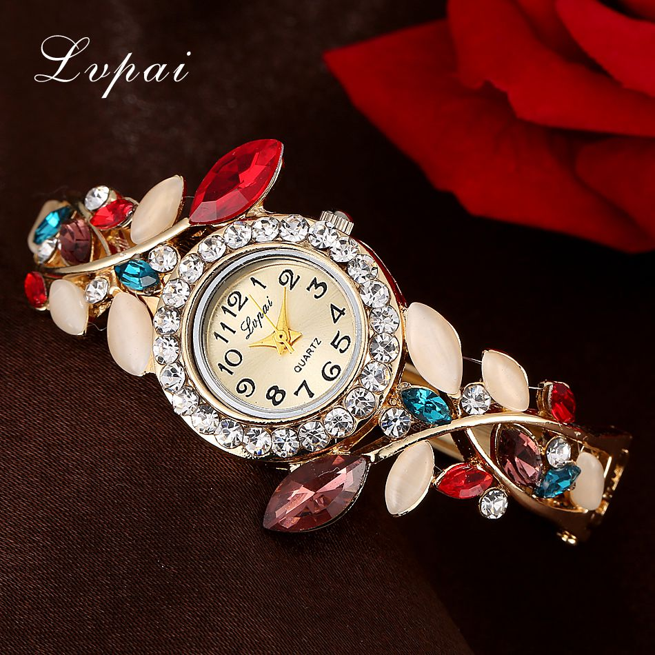 Lvpai Brand Luxury Gold Bracelet Watch Women Flowers Fashion Wristwatch Crystal Gemstone Casual Ladies Quartz Watches