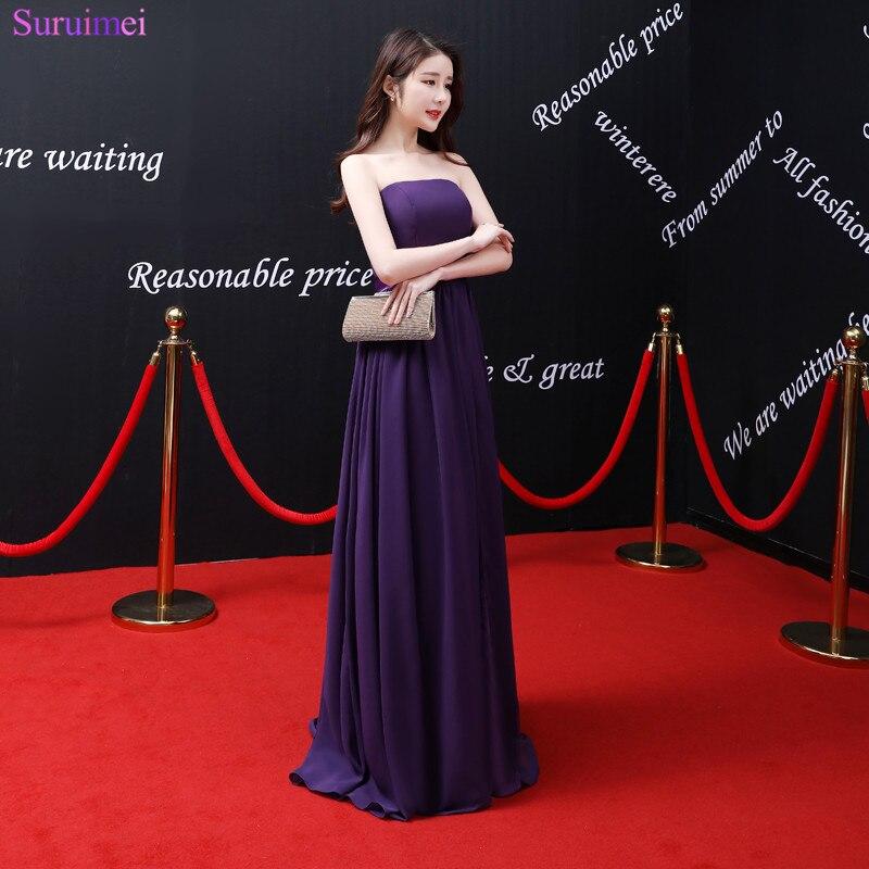 2018 Новое поступление фиолетовое вечернее платье без бретелек с открытыми плечами длиной до пола шифоновый длинный вечернее платье с разрез...