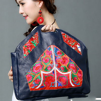 2017 girl fashion luxury Cow Genuine Leather national Embroidery handbag bolsos mujer female Embroidered Retro handbags tote bag xiyuan brand factory direct sales girl new national wind embroidery bag embroidered fashion 100% genuine leather lady backpack