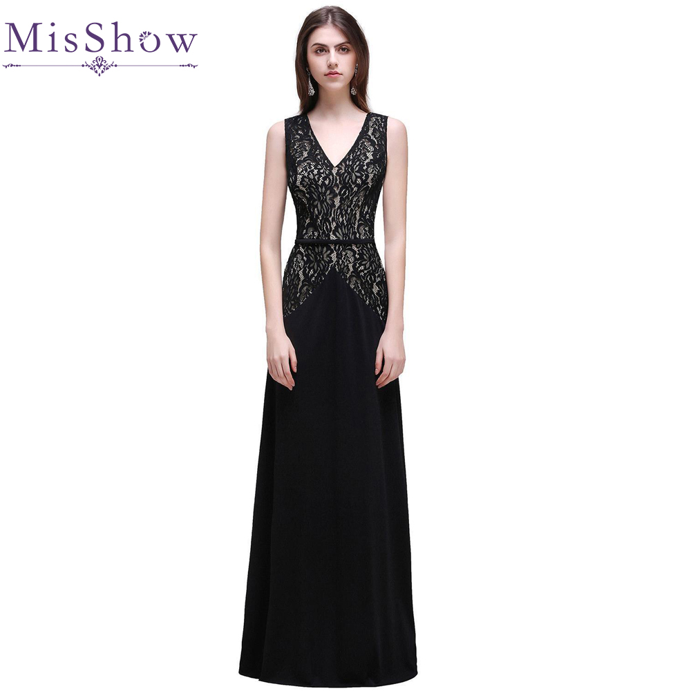 In Stock Fast Shipping Long Lace Evening Dress Black 2018 V Neck