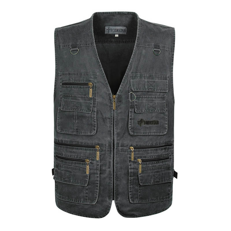 XL 7XL Plus Size Cotton Vests Male With Many Pockets Work Vest Photographer Casual Sleeveless Jacket Reporter Baggy Waistcoat