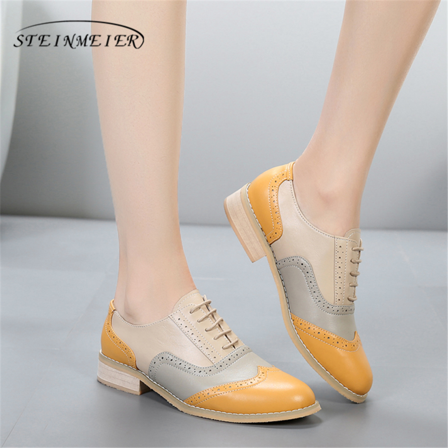 Women oxford Spring shoes genuine leather loafers for woman sneakers female oxfords ladies single shoes strap 2019 summer shoes