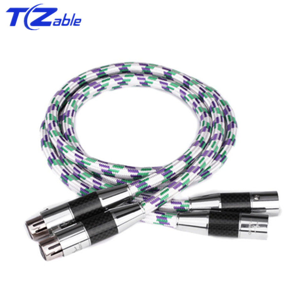 <font><b>1</b></font> Pair C2 <font><b>Hifi</b></font> <font><b>XLR</b></font> Cable Audio Cable High Quality OCC <font><b>2</b></font> <font><b>XLR</b></font> Male to Female For Amplifier 0.5/0.75/<font><b>1</b></font>/<font><b>1</b></font>.5/<font><b>2</b></font>/3/5 Meter image