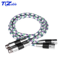 1 Pair C2 Hifi XLR Cable Audio Cable High Quality OCC 2 XLR Male to Female For Amplifier 0.5/0.75/1/1.5/2/3/5 Meter