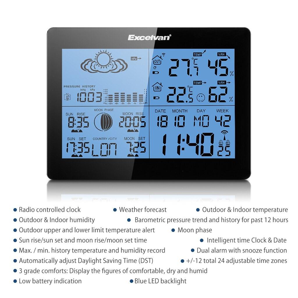 Funk Wetterstation Wetter Humidity mit 50M Außensensor Alarm//Temperatur RF433 DE