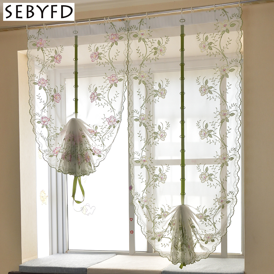 Peony Flower Embroidered Pattern Tulle Curtain , Sheer Window Curtain For Bedroom Living Room Window Treatments Decorative